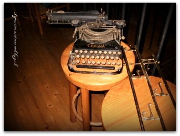 typewriter and coat rack