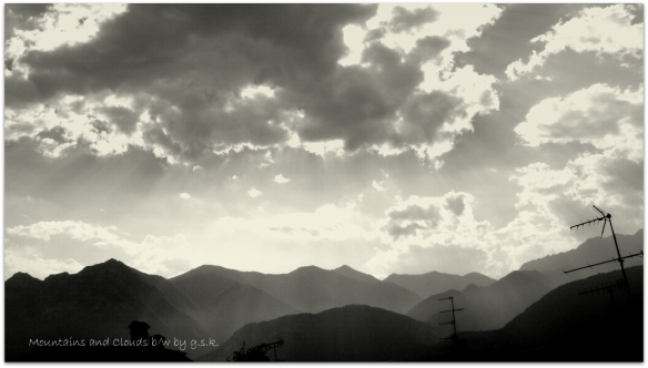 mountains and clouds b/w