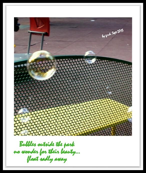 Haiga Lonely Bubbles