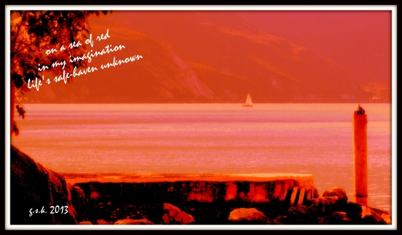 Haiga Red Sailboat