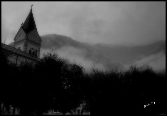 church in rain