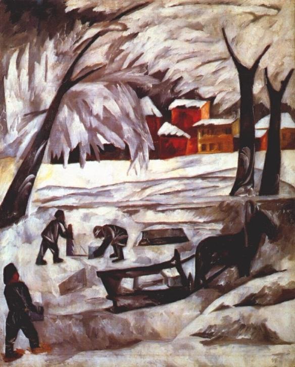 The Ice Cutters, 1911, Natalia Goncharova