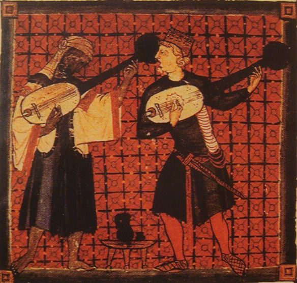 Christian and Moor playing lutes, 13th century