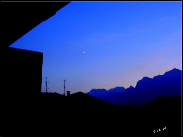 sunset and moon light